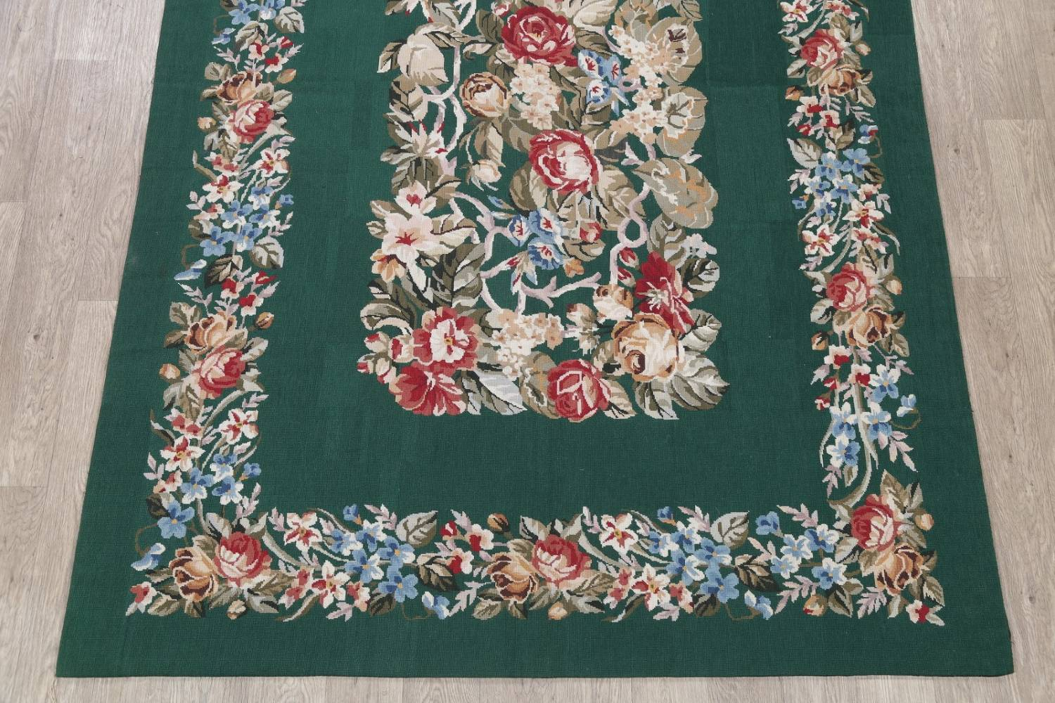 Floral Green Aubusson Chinese Oriental Hand-Woven Area Rug Wool 6x9 image 5