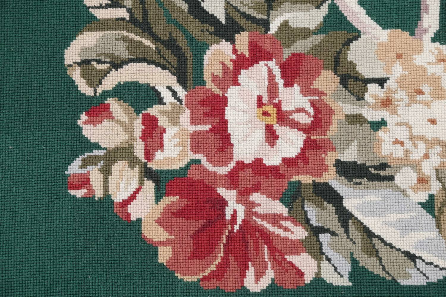 Floral Green Aubusson Chinese Oriental Hand-Woven Area Rug Wool 6x9 image 7