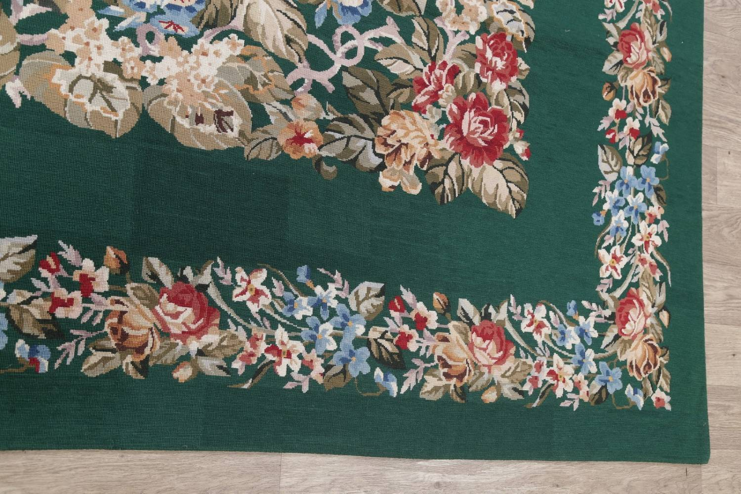 Floral Green Aubusson Chinese Oriental Hand-Woven Area Rug Wool 6x9 image 12