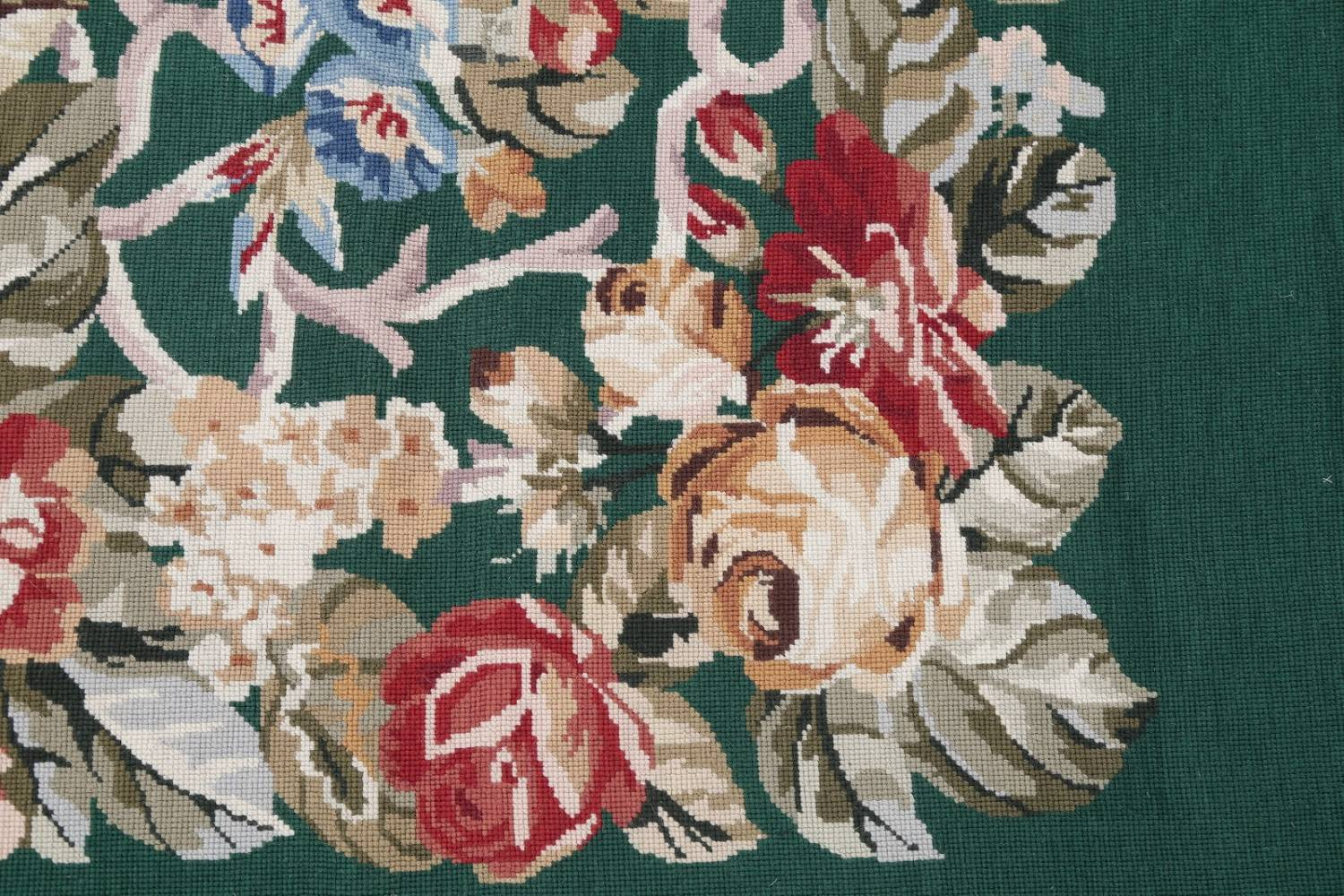 Floral Green Aubusson Chinese Oriental Hand-Woven Area Rug Wool 6x9 image 8