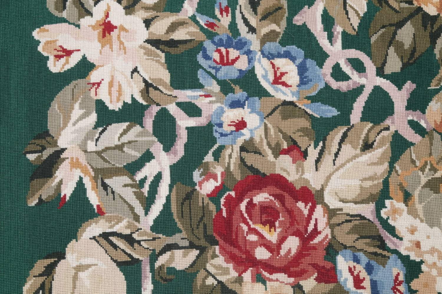 Floral Green Aubusson Chinese Oriental Hand-Woven Area Rug Wool 6x9 image 9