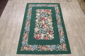 Floral Green Aubusson Chinese Oriental Hand-Woven Area Rug Wool 6x9 image 2