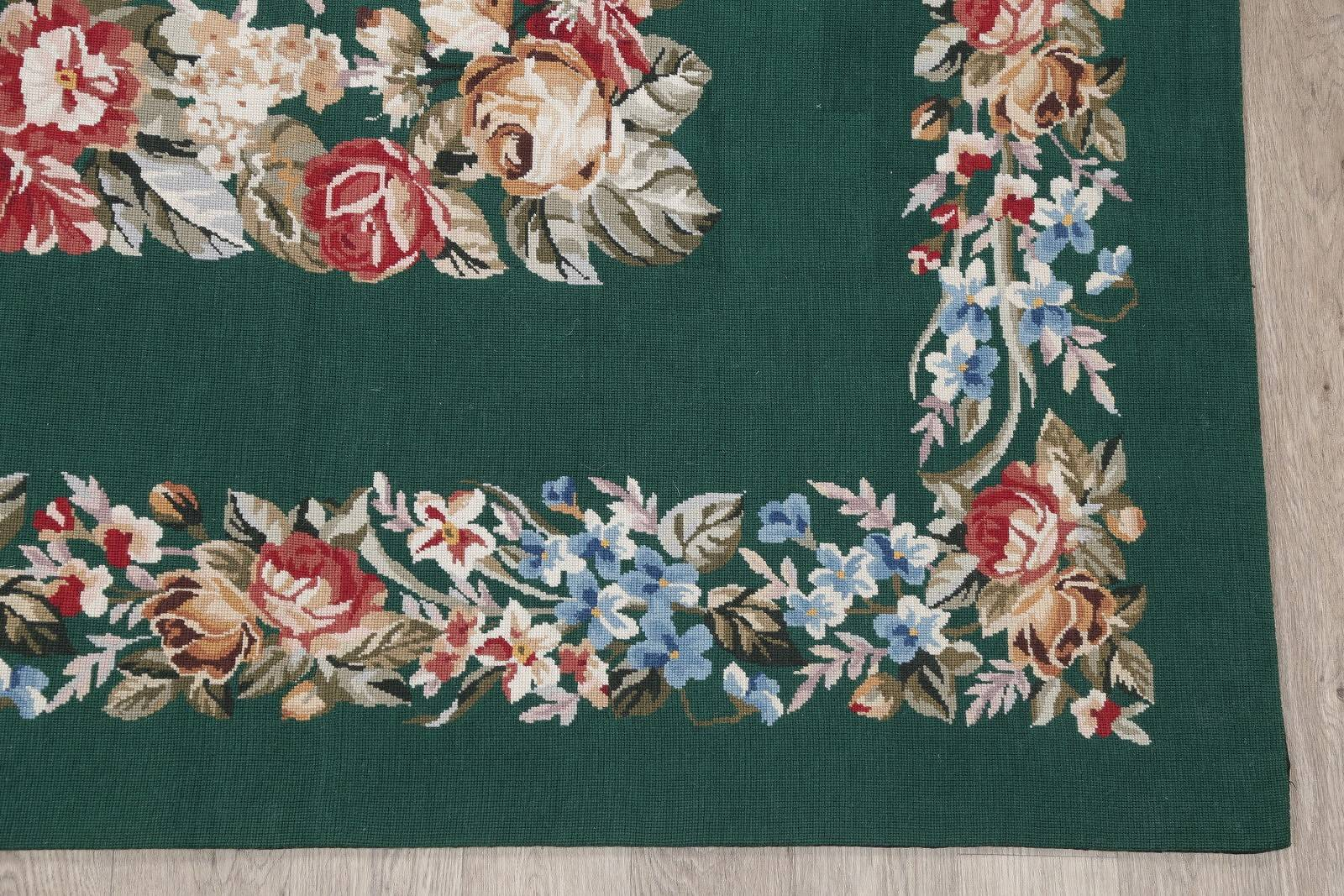 Floral Green Aubusson Chinese Oriental Hand-Woven Area Rug Wool 6x9