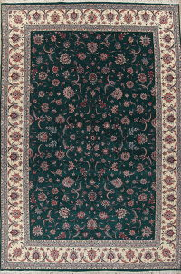 Floral Green Kashan Oriental Hand-Knotted Area Rug 12x18