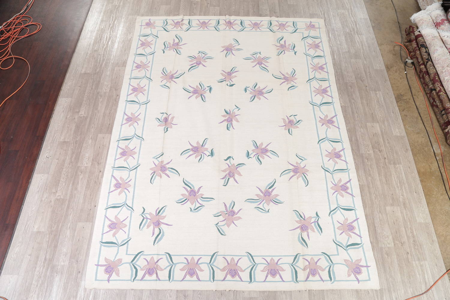 Transitional Ivory Kilim Indo Oriental Hand-Woven Area Rug Wool 9x12 image 2
