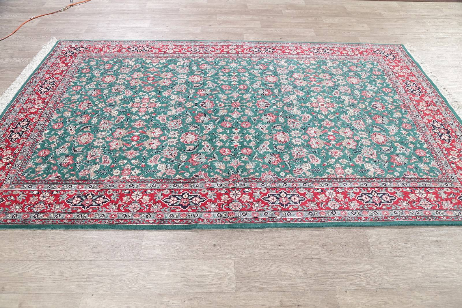 Floral Green Kashan Oriental Hand-Knotted Area Rug Wool 6x10