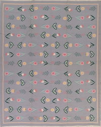 Floral Grey Kilim Indian Oriental Hand-Woven Area Rug Wool 8x10