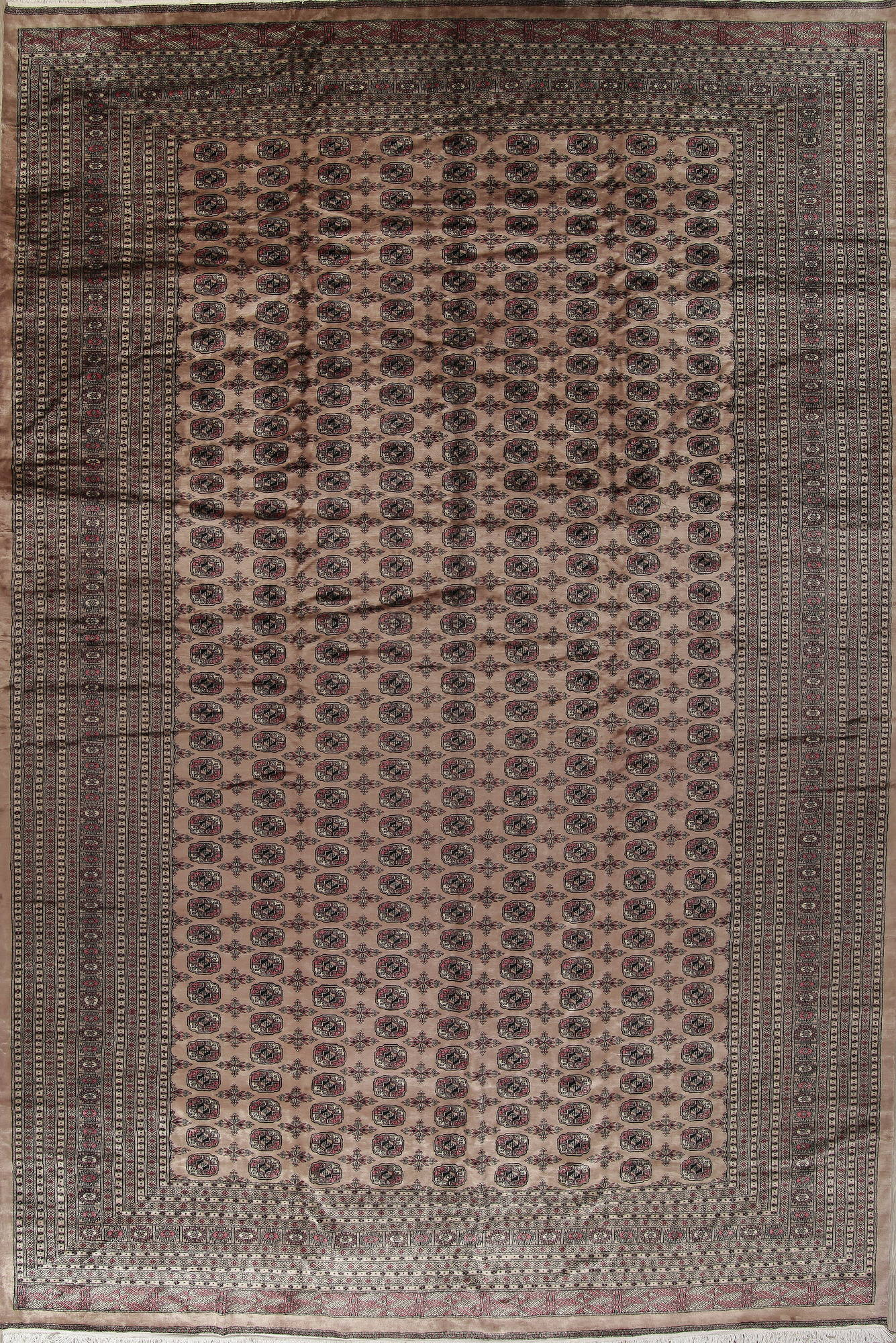 Geometric Brown Bokhara Pakistan Oriental Hand Knotted Area Rug Wool