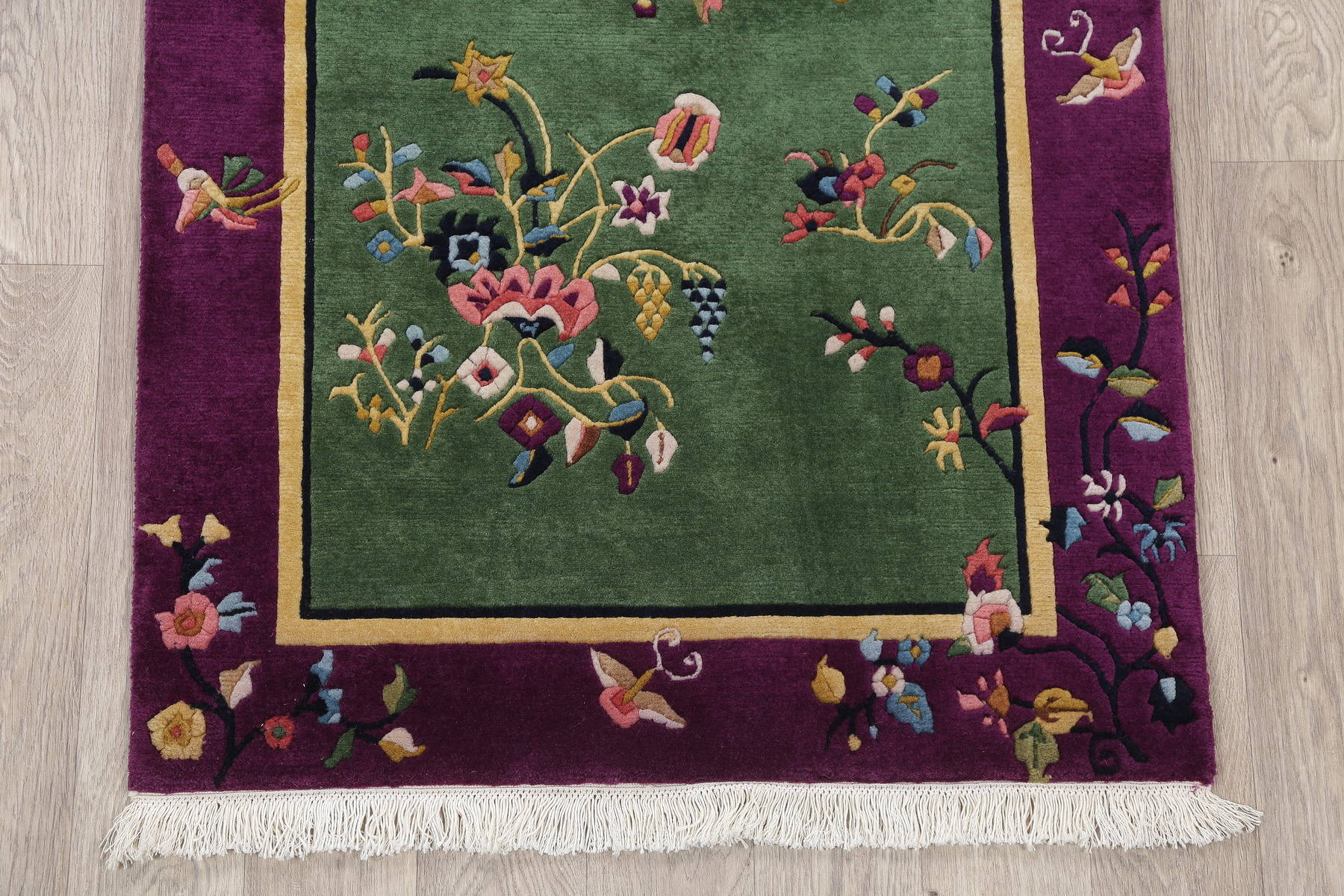 Floral Green Art Deco Chinese Oriental Hand-Knotted Area Rug Wool 3x5
