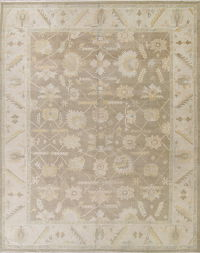 Vegetable Dye Muted Brown Oushak Turkish Hand-Knotted Area Rug 12X15