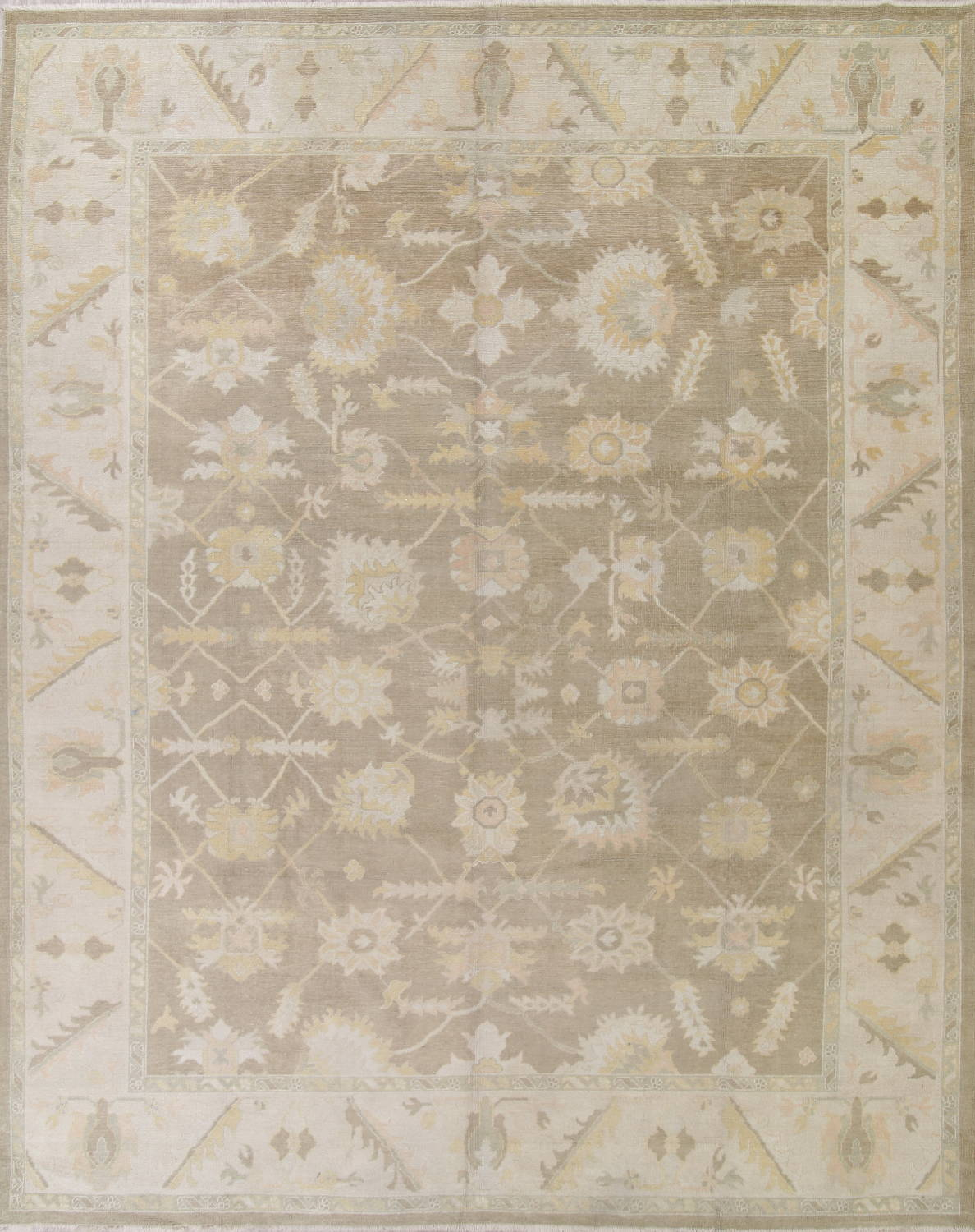 Vegetable Dye Muted Brown Oushak Turkish Hand Knotted Area