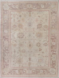 Vegetable Dye Muted Tan Oushak Turkish Hand-Knotted Area Rug 10x14