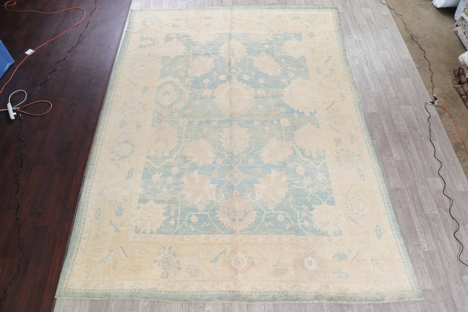 Vegetable Dye Muted Blue Oushak Turkish Hand-Knotted Area Rug 10x14 image 2