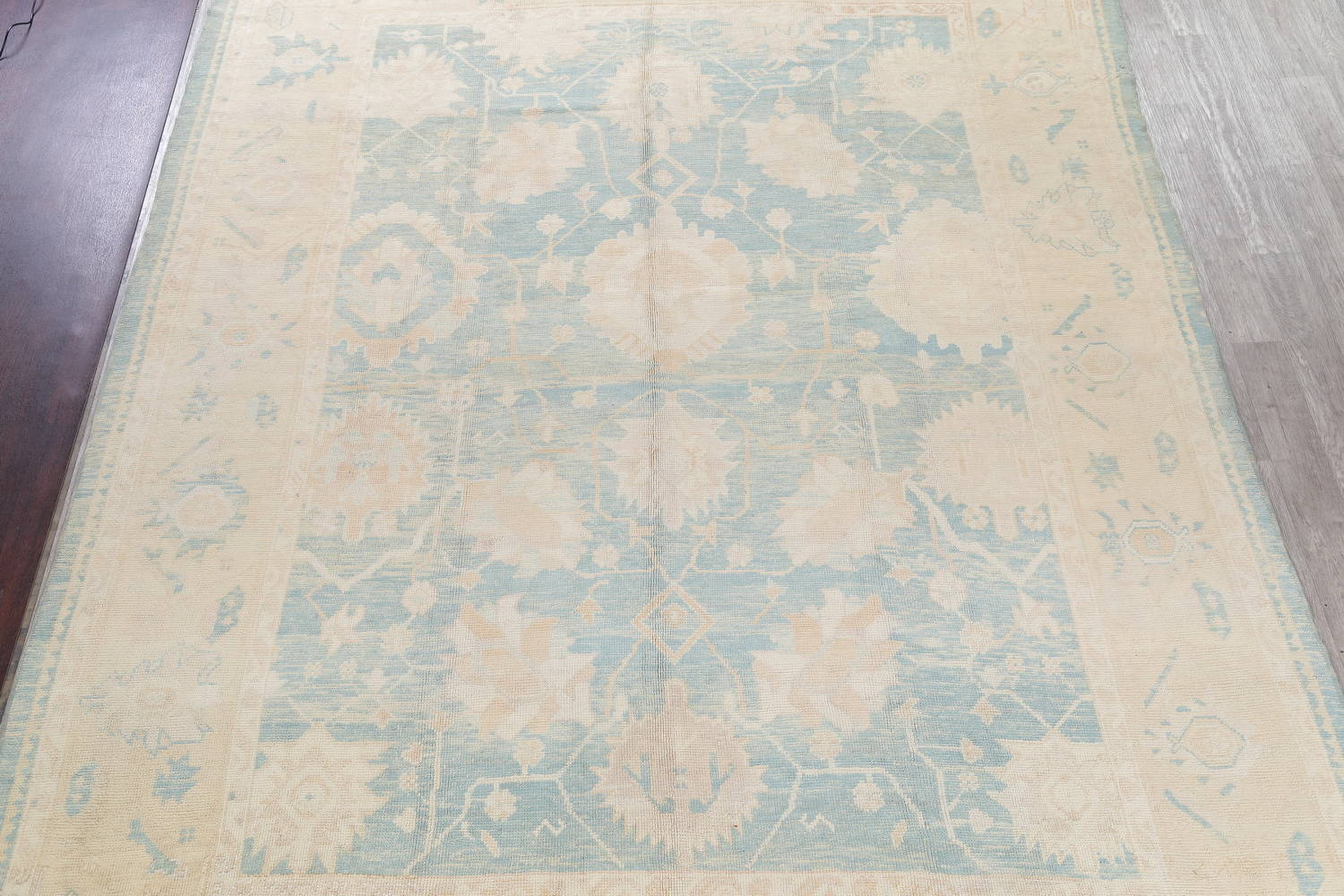 Vegetable Dye Muted Blue Oushak Turkish Hand-Knotted Area Rug 10x14 image 3