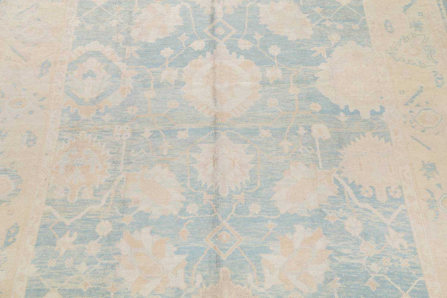 Vegetable Dye Muted Blue Oushak Turkish Hand-Knotted Area Rug 10x14 image 4