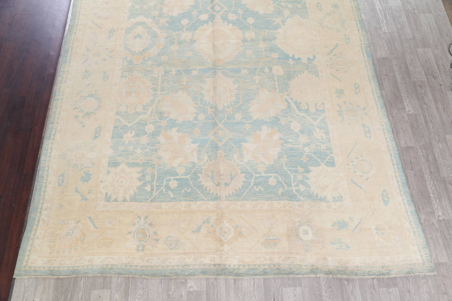 Vegetable Dye Muted Blue Oushak Turkish Hand-Knotted Area Rug 10x14 image 5