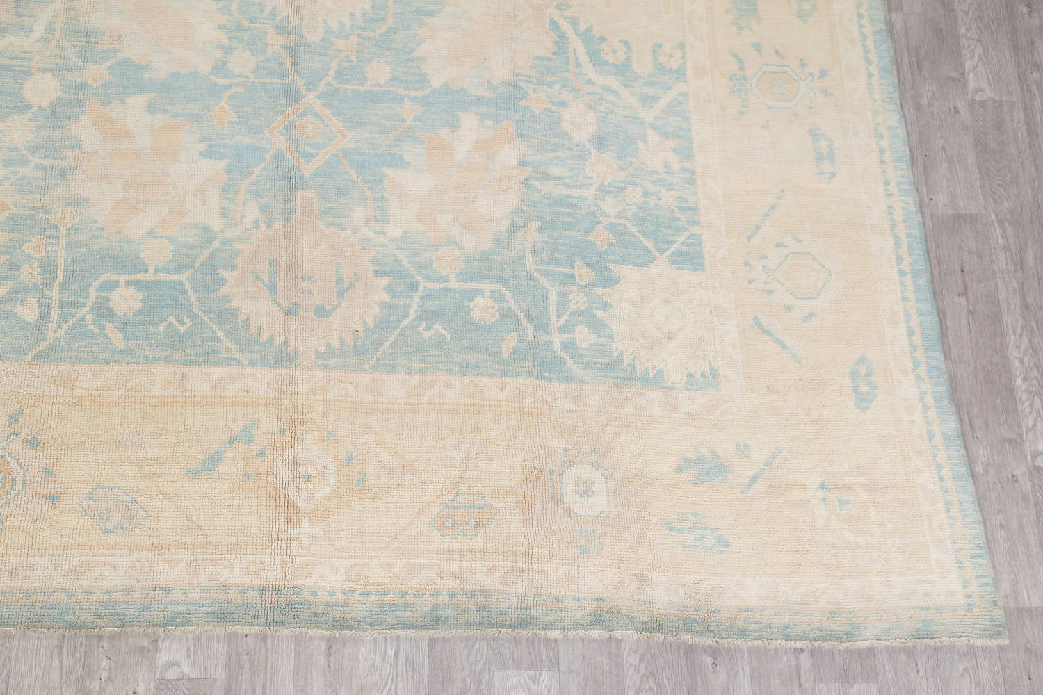 Vegetable Dye Muted Blue Oushak Turkish Hand-Knotted Area Rug 10x14 image 6