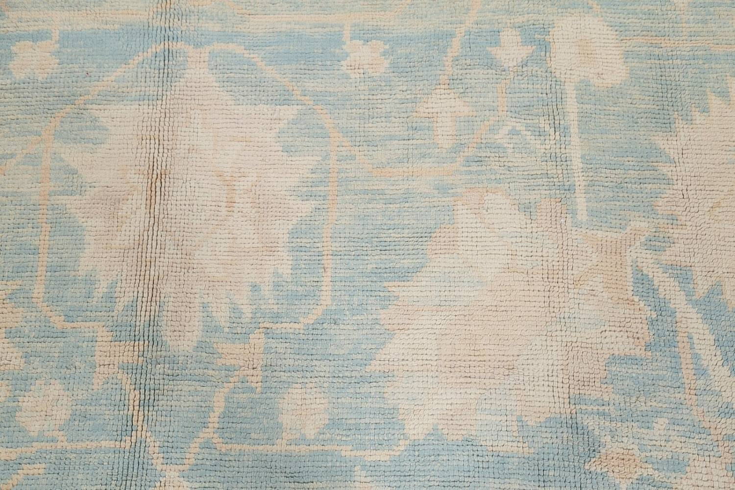 Vegetable Dye Muted Blue Oushak Turkish Hand-Knotted Area Rug 10x14 image 9
