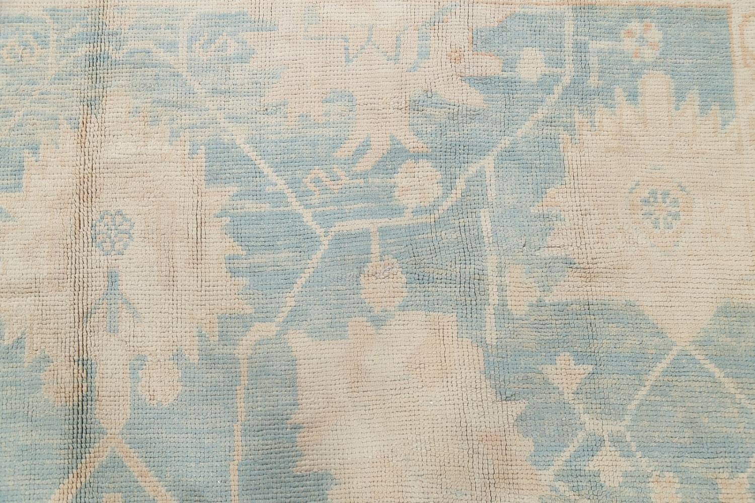 Vegetable Dye Muted Blue Oushak Turkish Hand-Knotted Area Rug 10x14 image 11