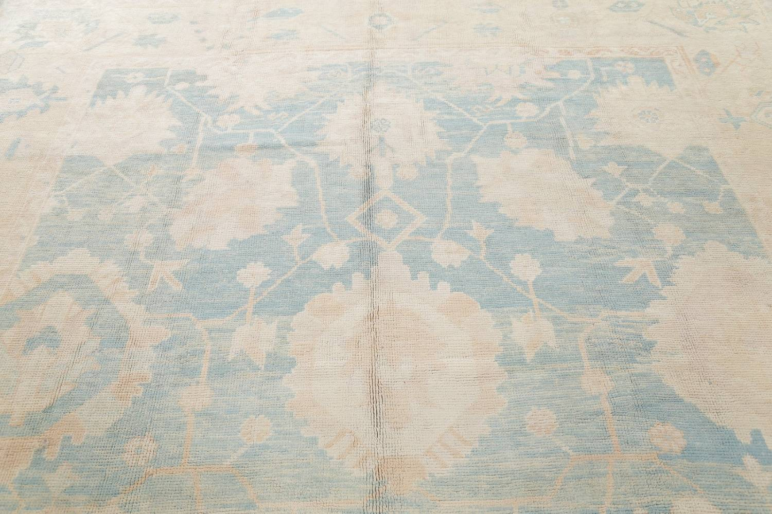 Vegetable Dye Muted Blue Oushak Turkish Hand-Knotted Area Rug 10x14 image 12