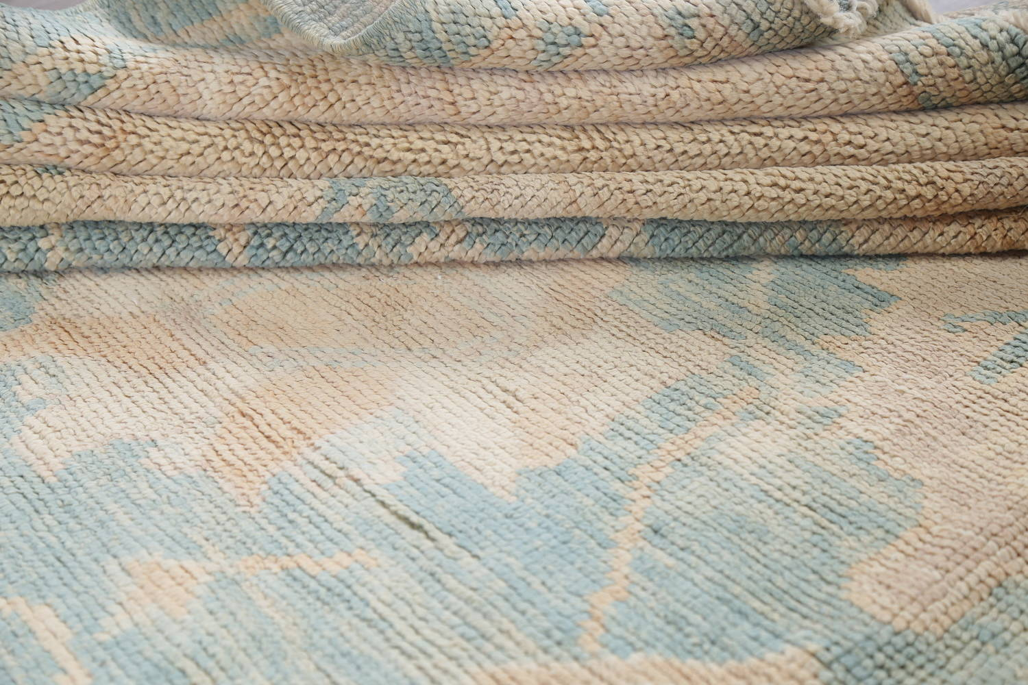 Vegetable Dye Muted Blue Oushak Turkish Hand-Knotted Area Rug 10x14 image 17