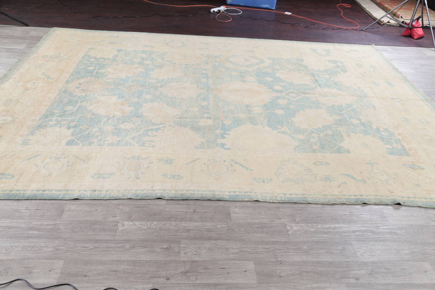 Vegetable Dye Muted Blue Oushak Turkish Hand-Knotted Area Rug 10x14 image 14