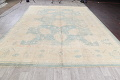 Vegetable Dye Muted Blue Oushak Turkish Hand-Knotted Area Rug 10x14 image 15