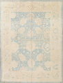 Vegetable Dye Muted Blue Oushak Turkish Hand-Knotted Area Rug 10x14 image 1