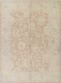 Vegetable Dye Muted Brown Oushak Turkish Hand-Knotted Area Rug 10x14