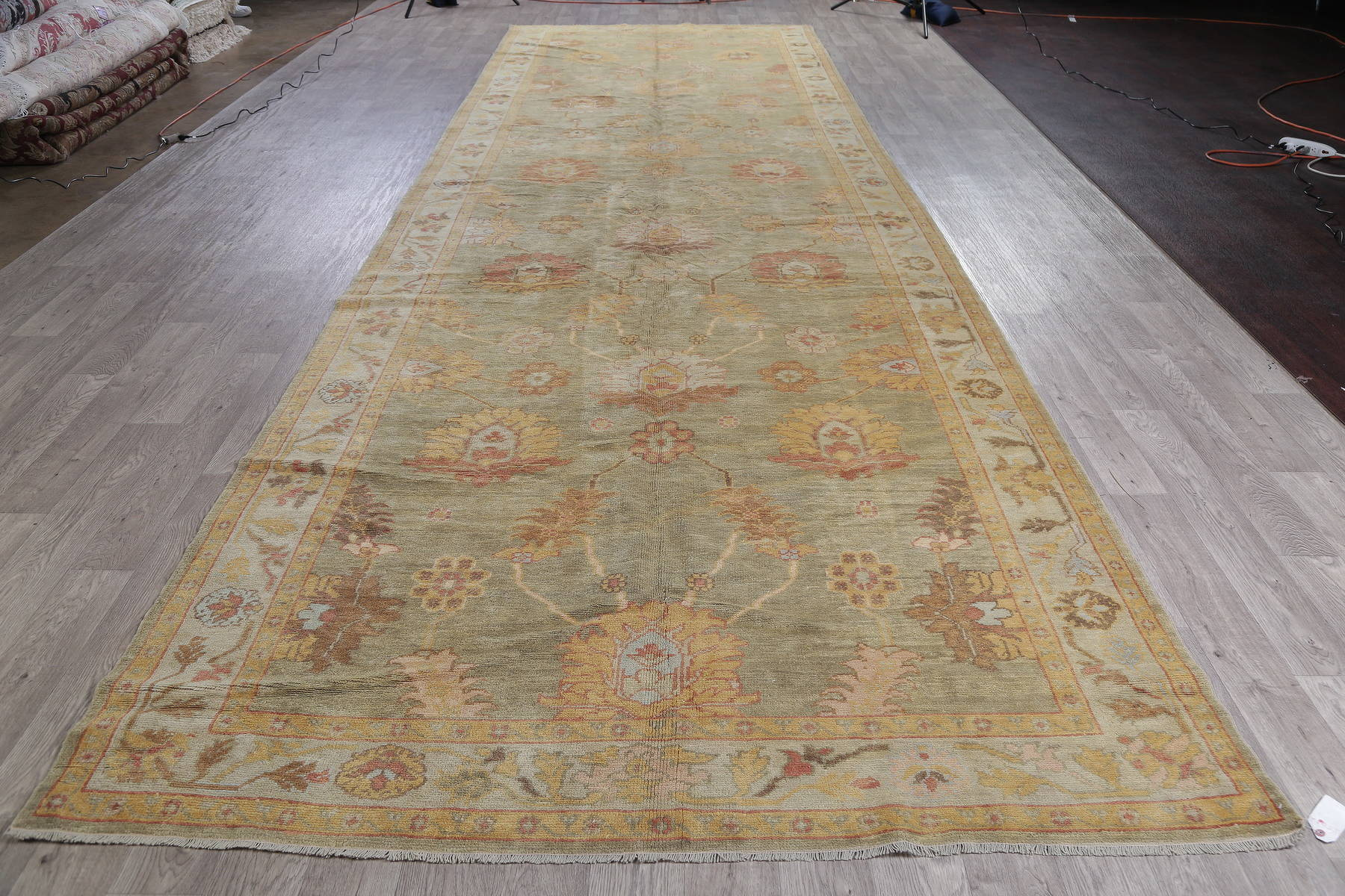 Vegetable Dye Green Pistachio Muted Oushak Turkish Runner Rug 7x22