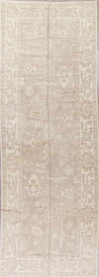 Vegetable Dye Muted Oushak Turkish Hand-Knotted Runner Rug 6x17