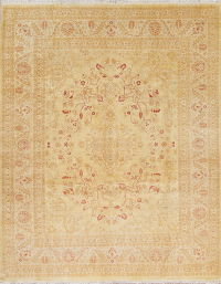 Muted Gold Floral Oushak Peshawar Hand-Knotted 8x10 Wool Area Rug