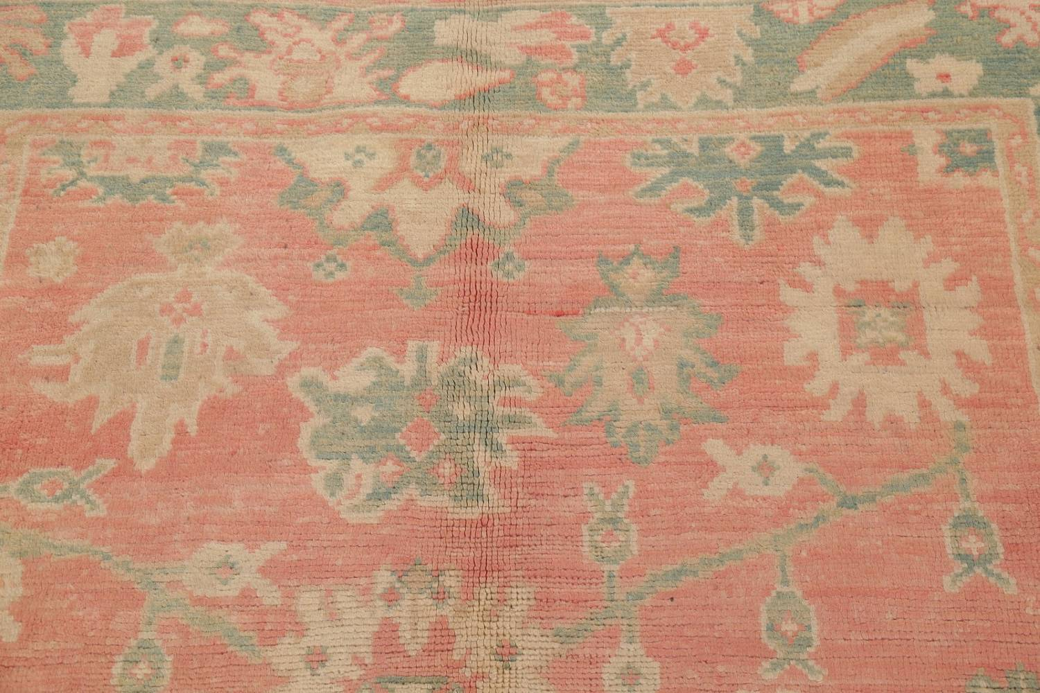 Vegetable Dye Muted Coral Oushak Turkish Hand Knotted Area