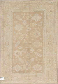 Vegetable Dye Muted Brown Oushak Turkish Hand-Knotted Area Rug 4x6