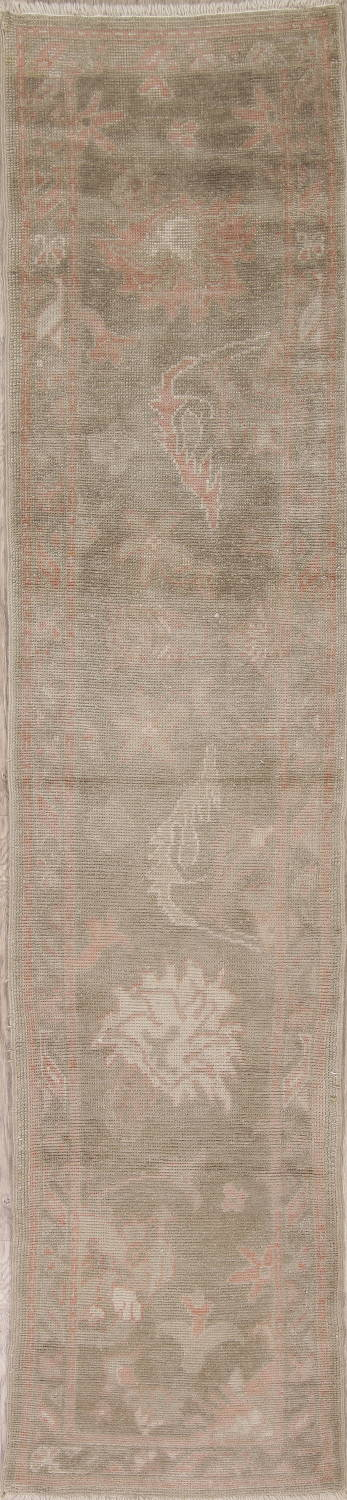 Vegetable Dye Muted Green Oushak Turkish Hand-Knotted Runner Rug 2x12 image 1