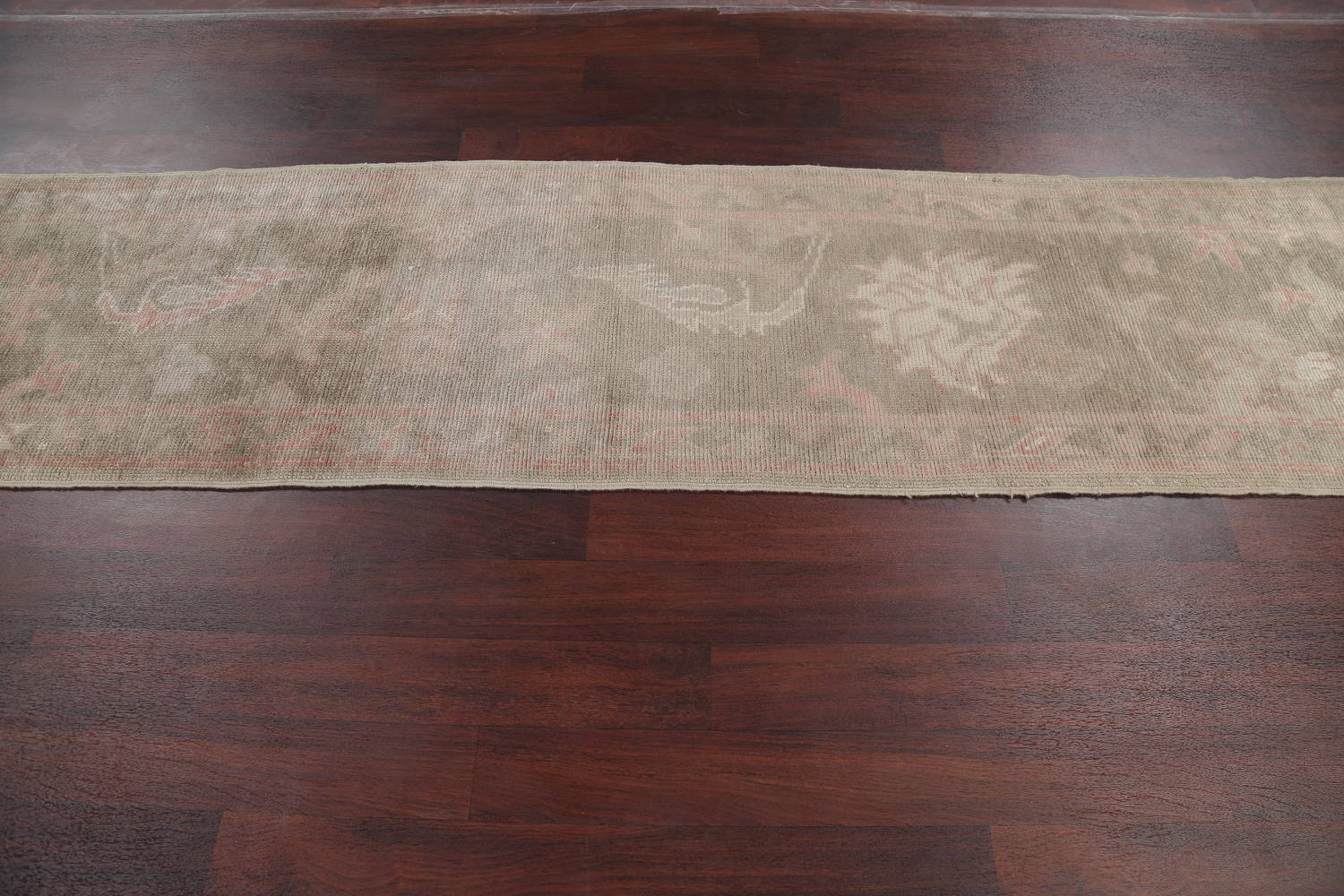 Vegetable Dye Muted Green Oushak Turkish Hand-Knotted Runner Rug 2x12 image 13