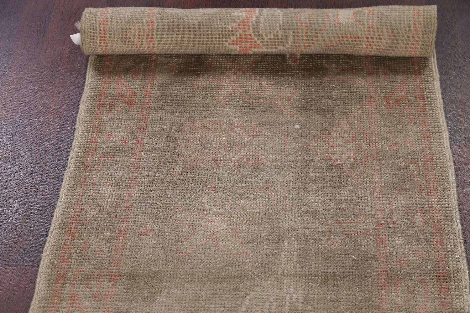 Vegetable Dye Muted Green Oushak Turkish Hand-Knotted Runner Rug 2x12 image 16