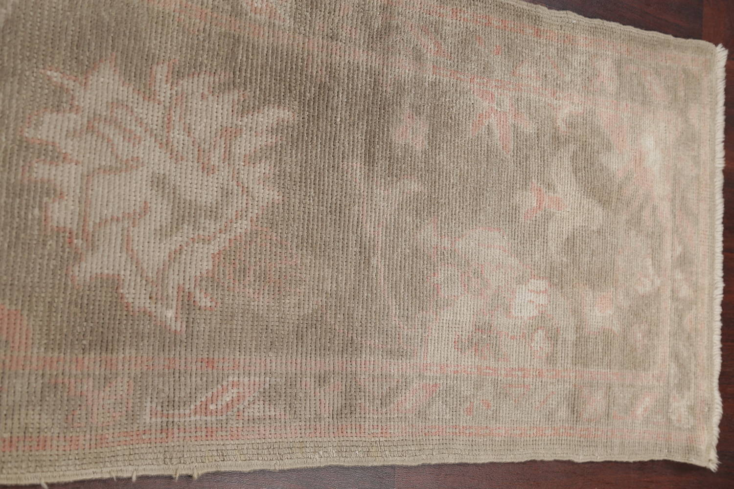 Vegetable Dye Muted Green Oushak Turkish Hand-Knotted Runner Rug 2x12 image 12