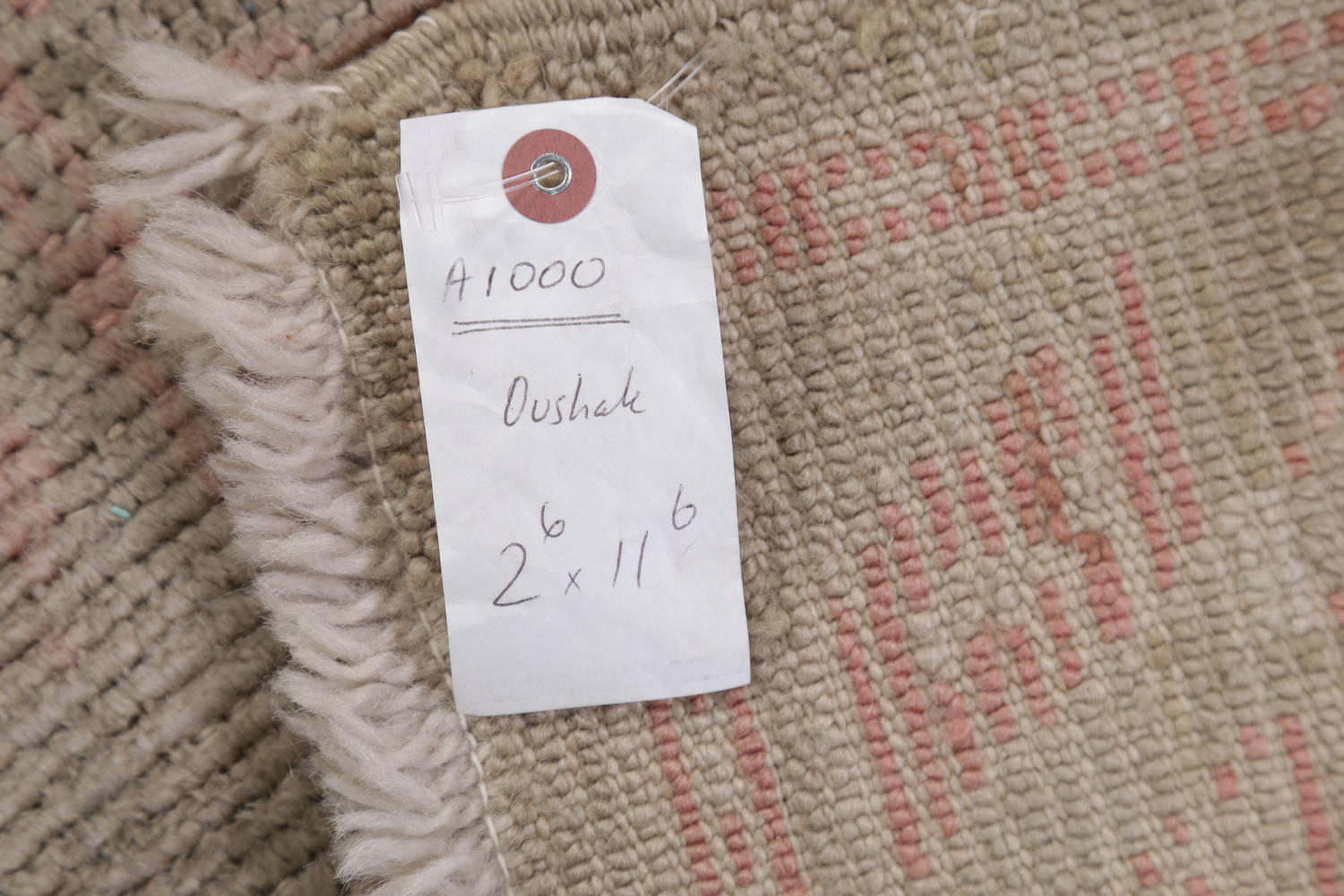 Vegetable Dye Muted Green Oushak Turkish Hand-Knotted Runner Rug 2x12 image 20