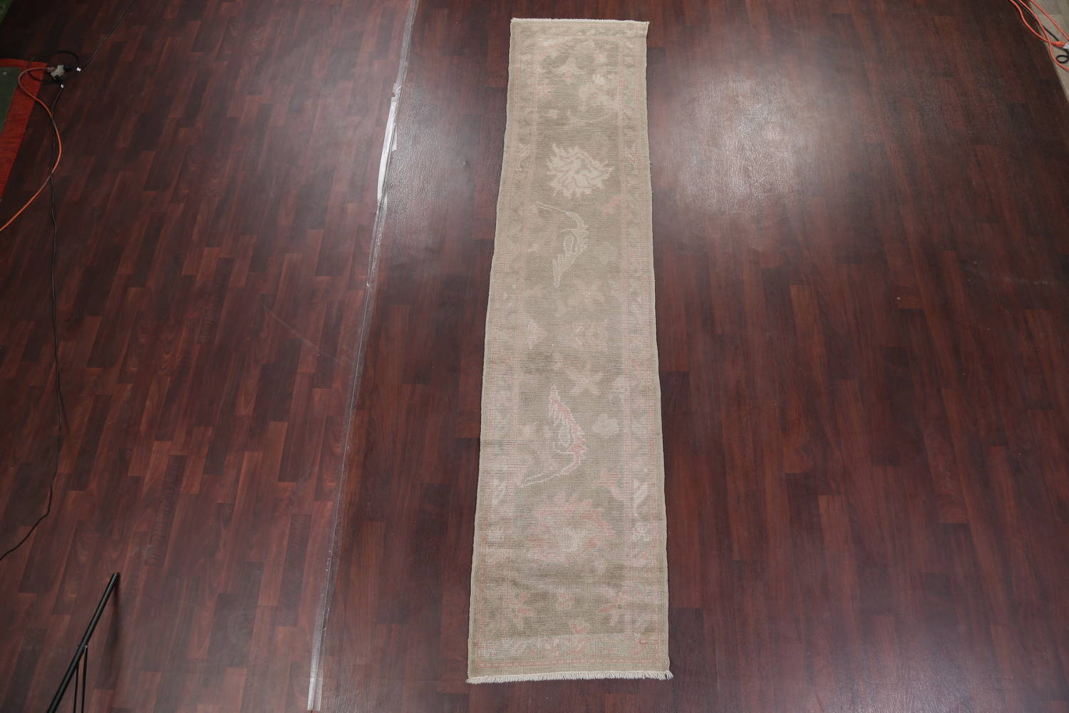 Vegetable Dye Muted Green Oushak Turkish Hand-Knotted Runner Rug 2x12 image 2