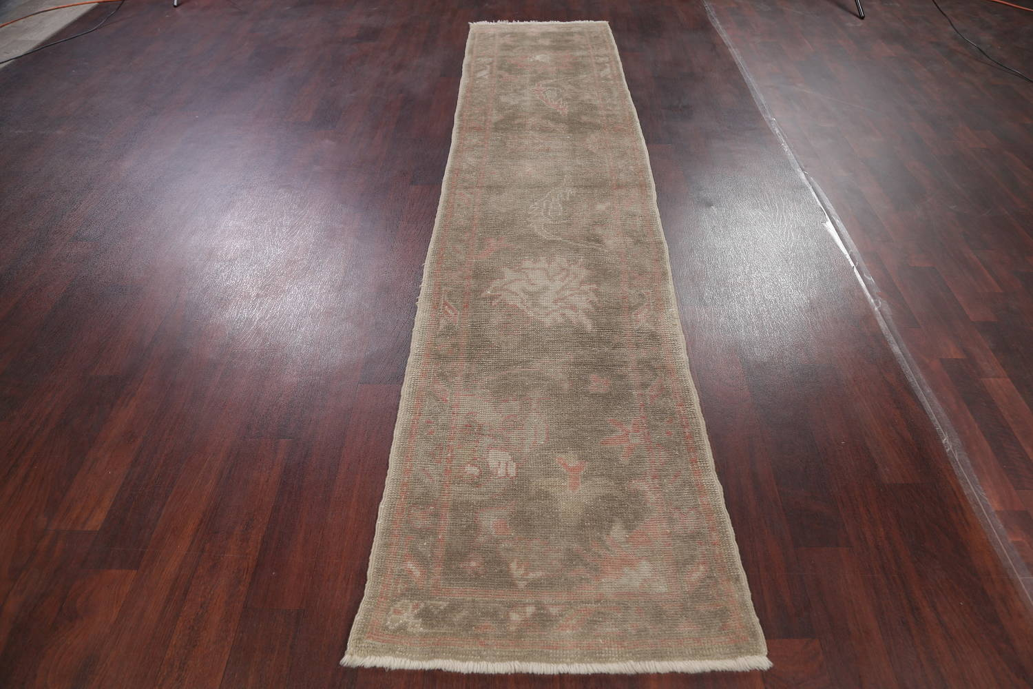 Vegetable Dye Muted Green Oushak Turkish Hand-Knotted Runner Rug 2x12 image 14