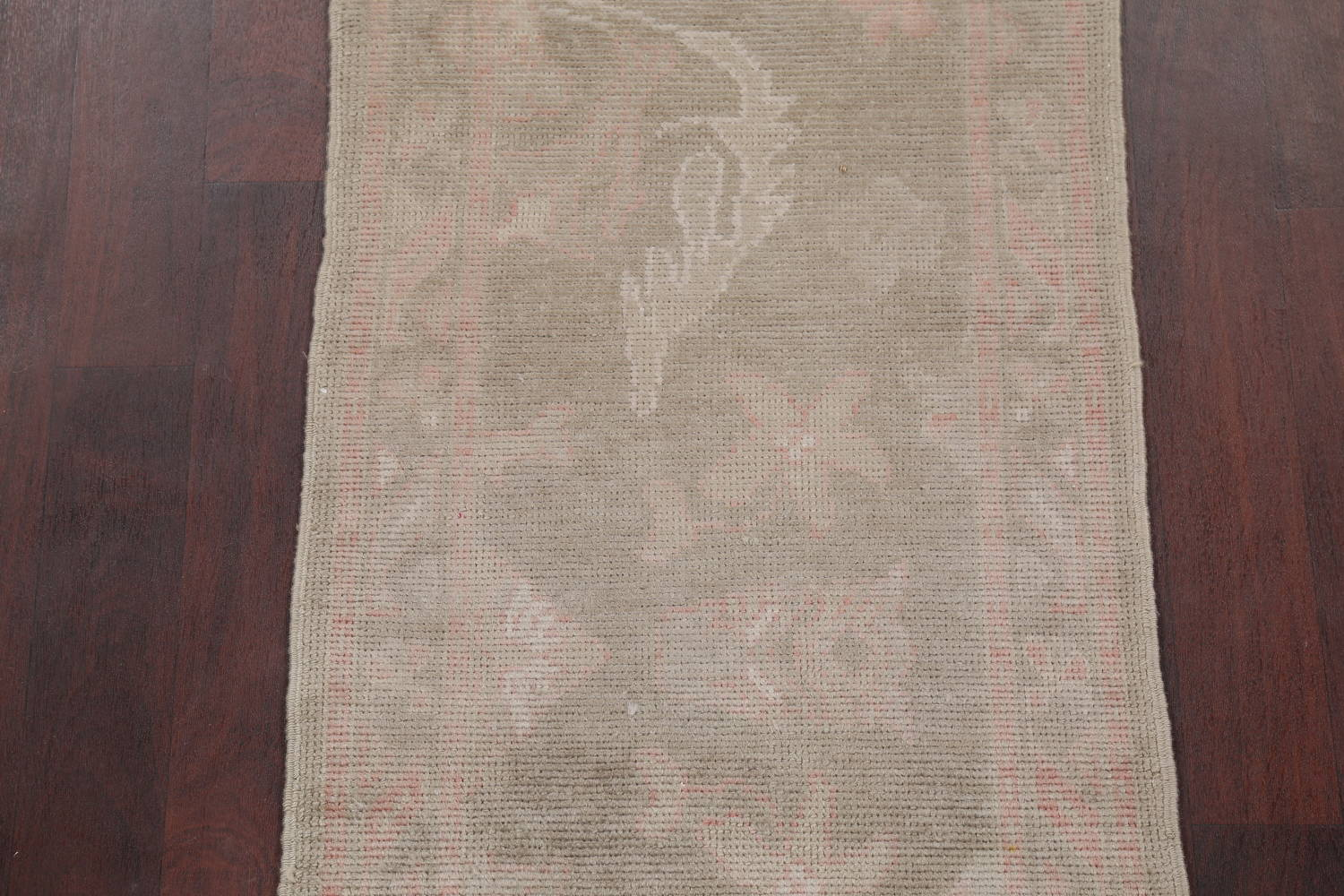 Vegetable Dye Muted Green Oushak Turkish Hand-Knotted Runner Rug 2x12 image 4
