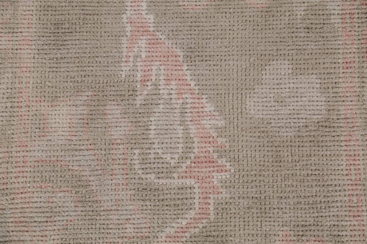 Vegetable Dye Muted Green Oushak Turkish Hand-Knotted Runner Rug 2x12 image 9