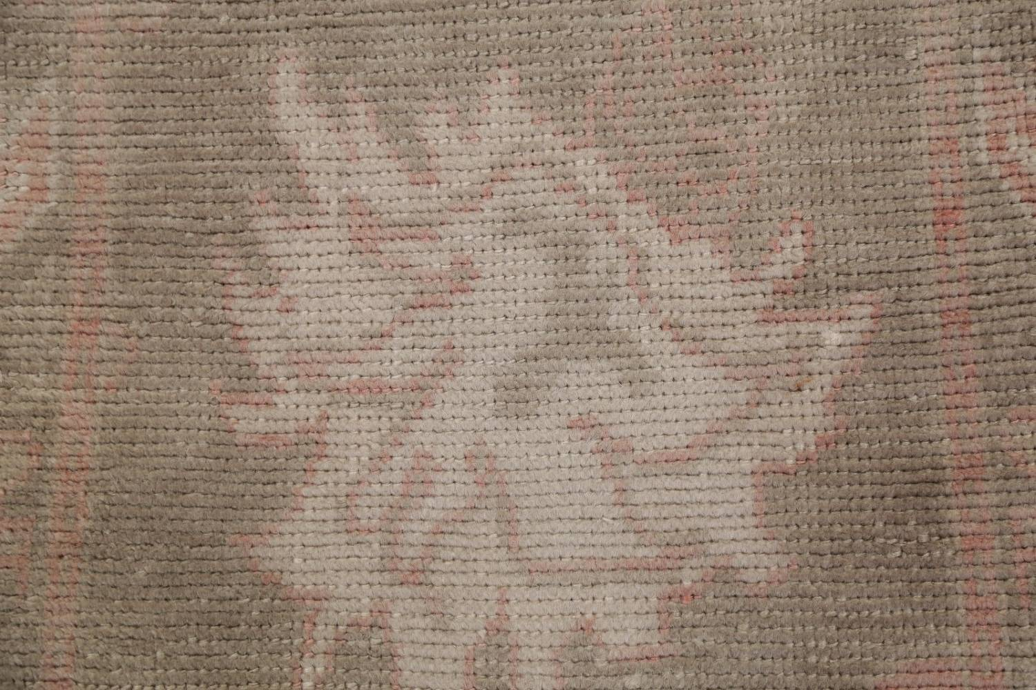 Vegetable Dye Muted Green Oushak Turkish Hand-Knotted Runner Rug 2x12 image 10