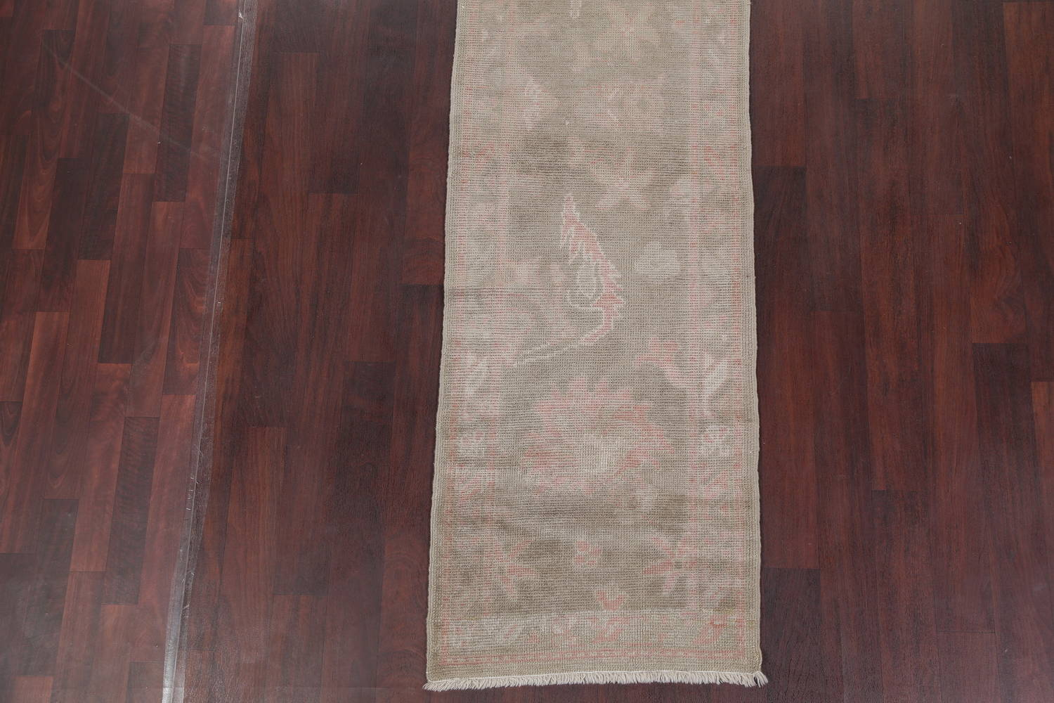 Vegetable Dye Muted Green Oushak Turkish Hand-Knotted Runner Rug 2x12 image 5