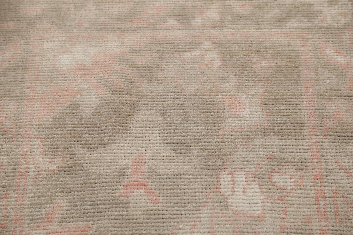 Vegetable Dye Muted Green Oushak Turkish Hand-Knotted Runner Rug 2x12 image 11