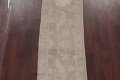 Vegetable Dye Muted Green Oushak Turkish Hand-Knotted Runner Rug 2x12 image 3