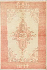 Vegetable Dye Muted Oushak Turkish Area Rug Wool 5x7