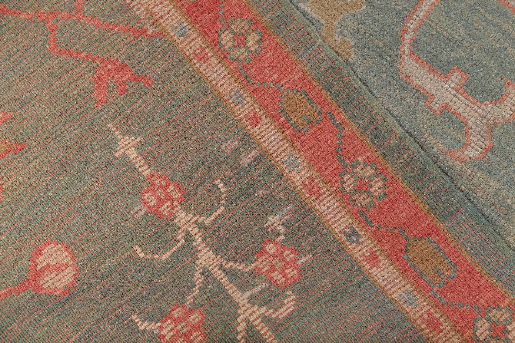 Vegetable Dye Muted All-Over Green Oushak Turkish Hand-Knotted Runner Rug 3x12