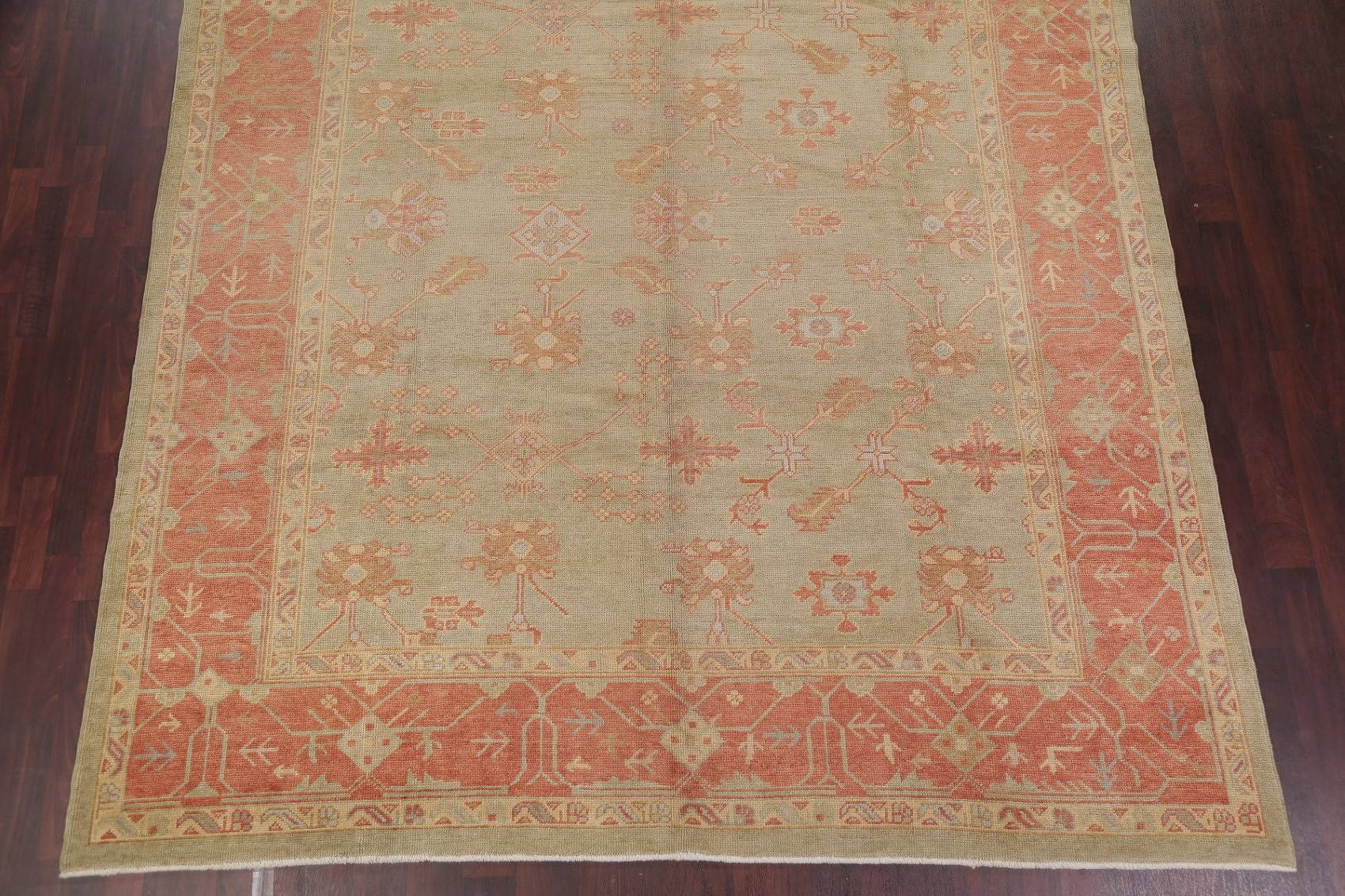 Vegetable Dye Muted Tribal Green Oushak Turkish Hand-Knotted Area Rug 9x12